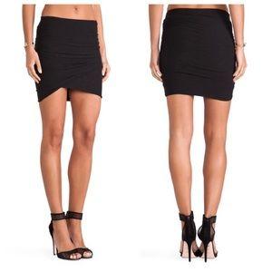 James Perse Black Wrap Mini Skirt